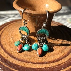 Silpada turquoise/coral/tigers eye earrings